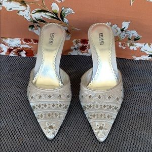 Silver Embroidered Point Toe Heels